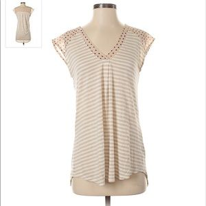 Anthropologie Little Yellow Button Striped V Neck